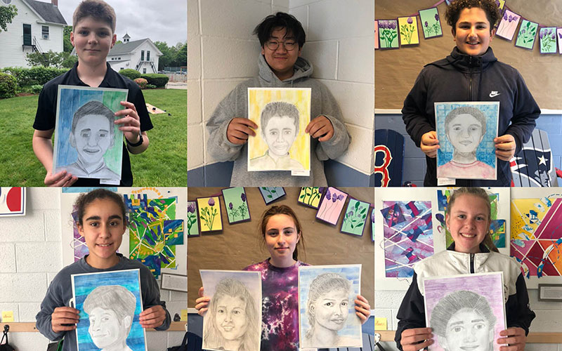 Rocky Hill students showing artwork for a Diversity project