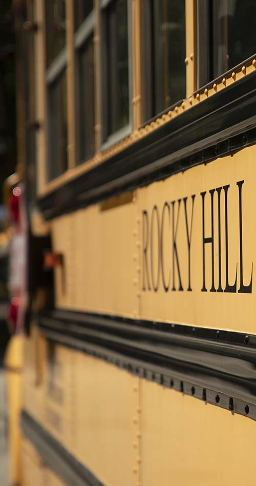 Side shot of the Rocky Hill school bus with super buttery bokeh