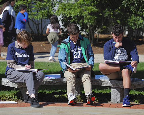 Rocky Hill students studying outside on campus